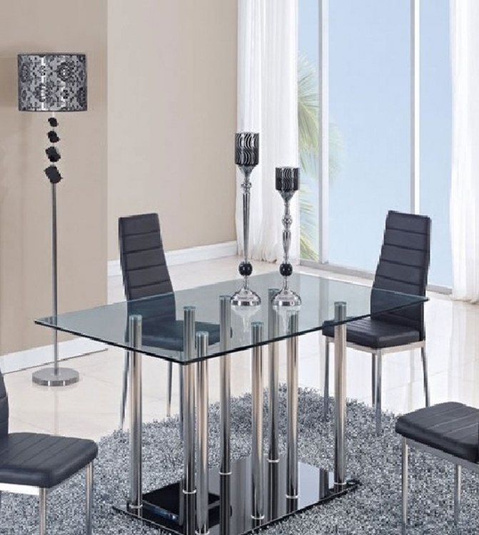 368DT Dining Table - Vinyl - Black/Metal Legs - Global Furniture