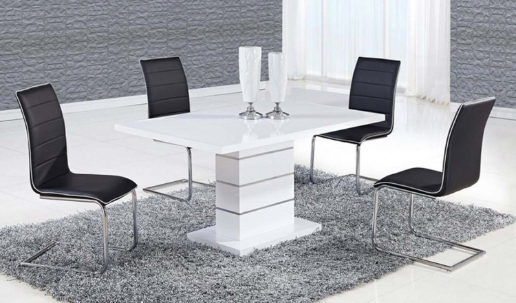 470 Dining Set - White High Gloss MDF - Metal Trim A