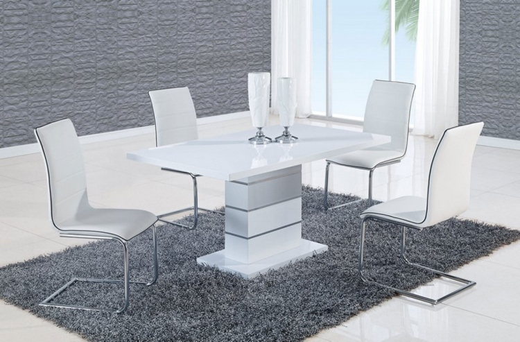470 Dining Set - White High Gloss MDF - Metal Trim B - Global Furniture