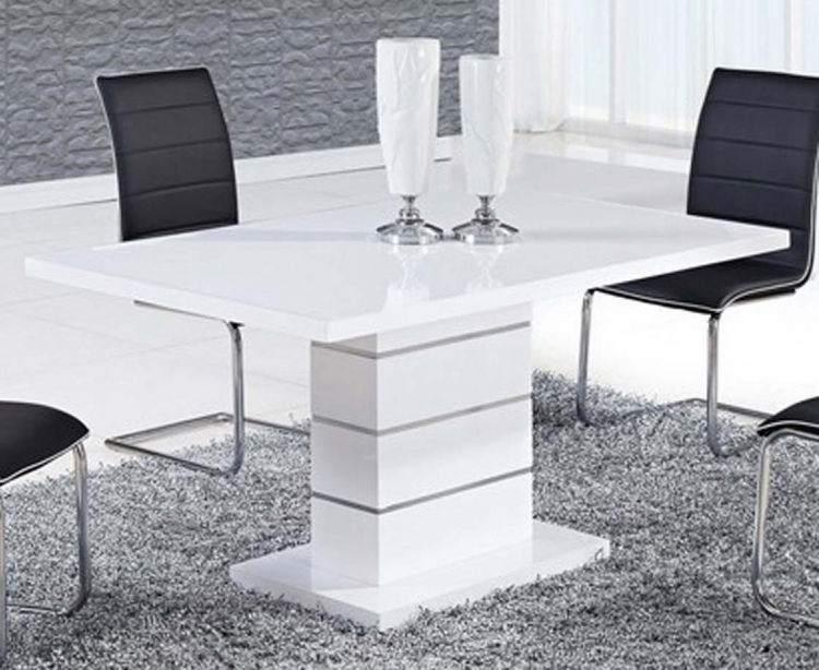 470 Dining Table - White MDF - Metal Trim