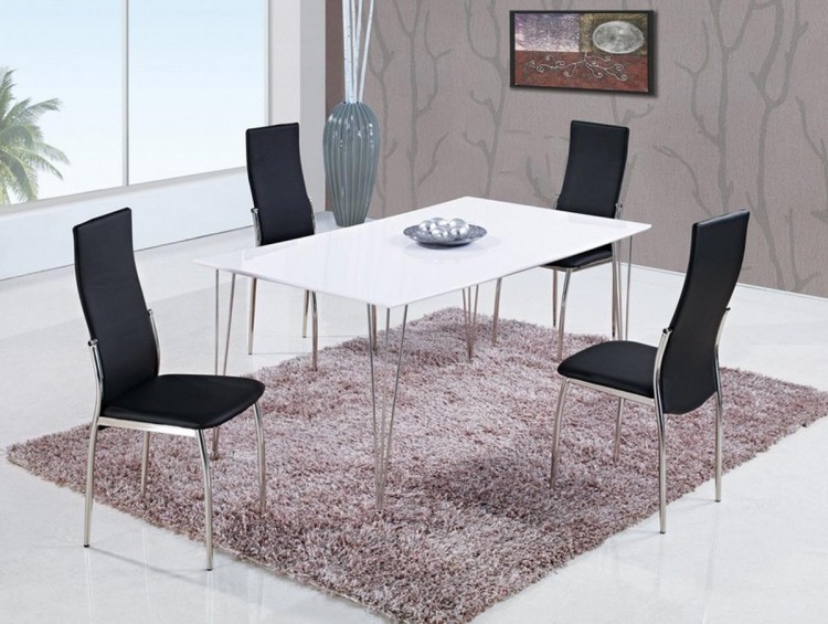 475 Dining Set - White High Gloss MDF - Metal Legs A - Global Furniture