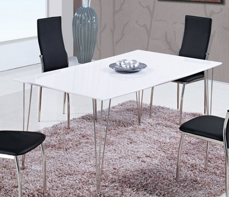 475 Dining Table - White High Gloss MDF - Metal Legs