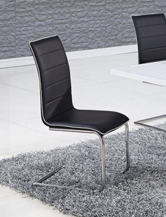 490 Dining Chair - Black/White Trim - Metal Legs