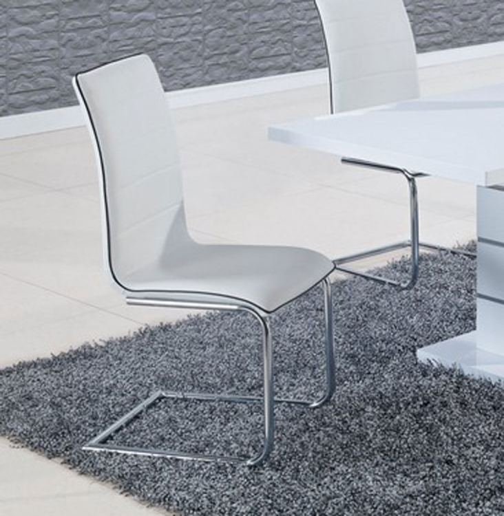 490 Dining Chair - White/Black Trim - Metal Legs