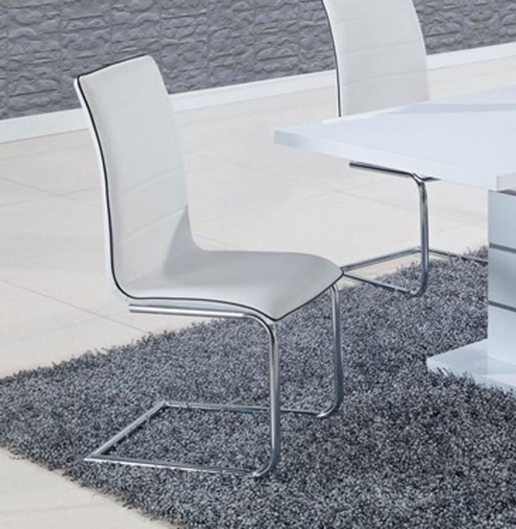 490 Dining Chair - White/Black Trim - Metal Legs