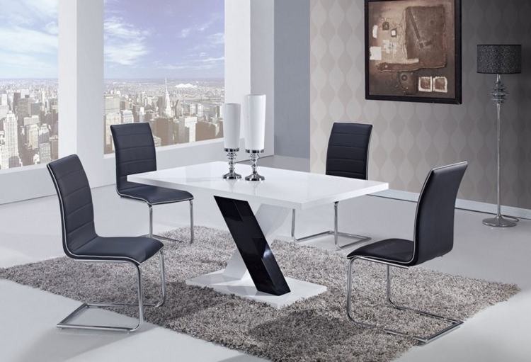 490 Dining Set -White High Gloss MDF - Black and White Legs A