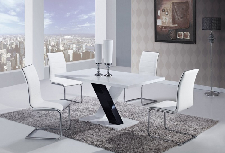 490 Dining Set -White High Gloss MDF - Black and White Legs B