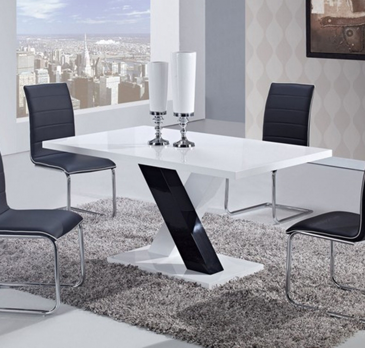 490 Dining Table -White High Gloss MDF - Black and White Legs - Global Furniture