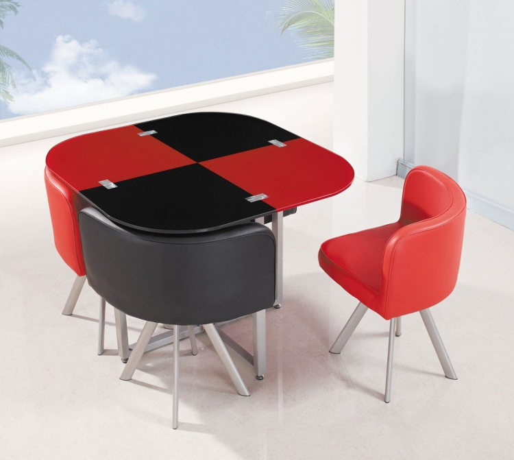 536-1DT Dining Set - Vinyl/Black/Red - Metal Legs