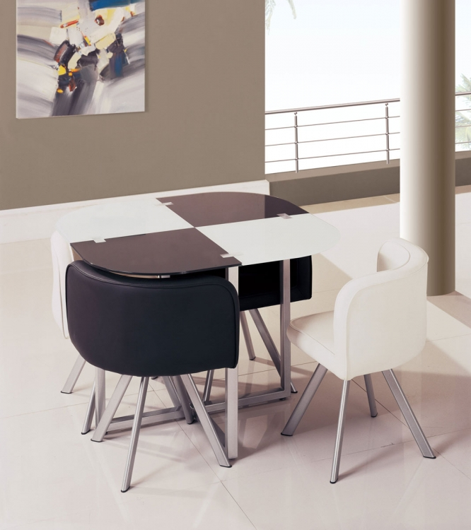 536-1DT Dining Set - Vinyl/Black/White - Metal Legs - Global Furniture