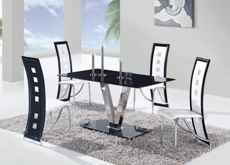 551 Dining Set - Black - Stainless Steel Legs B - Global Furniture