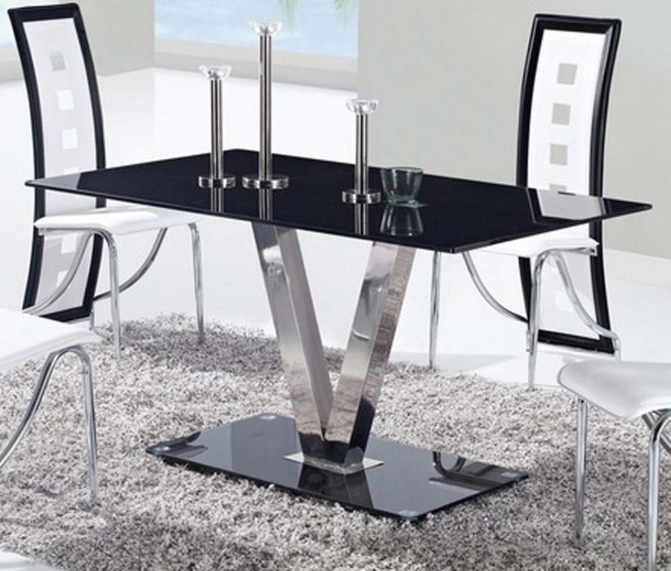 551 Dining Table - Black - Stainless Steel Legs - Global Furniture