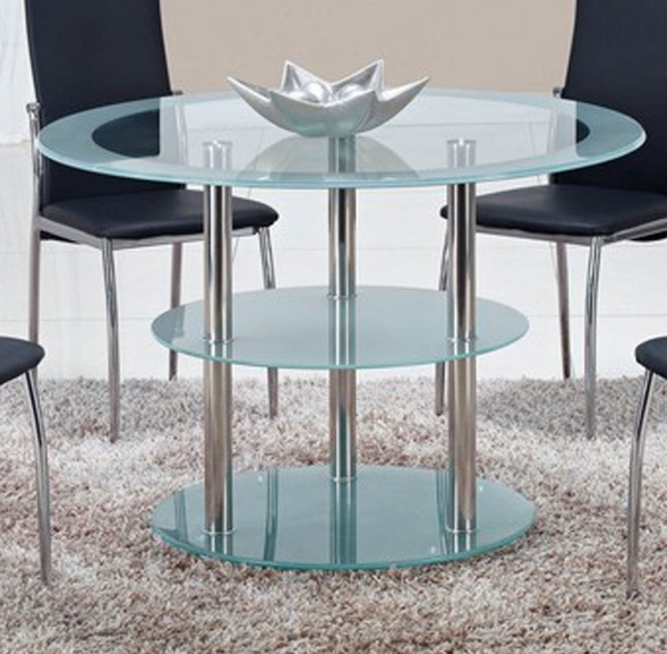 79 Dining Table - Frosted Glass - Stainless Steel Legs