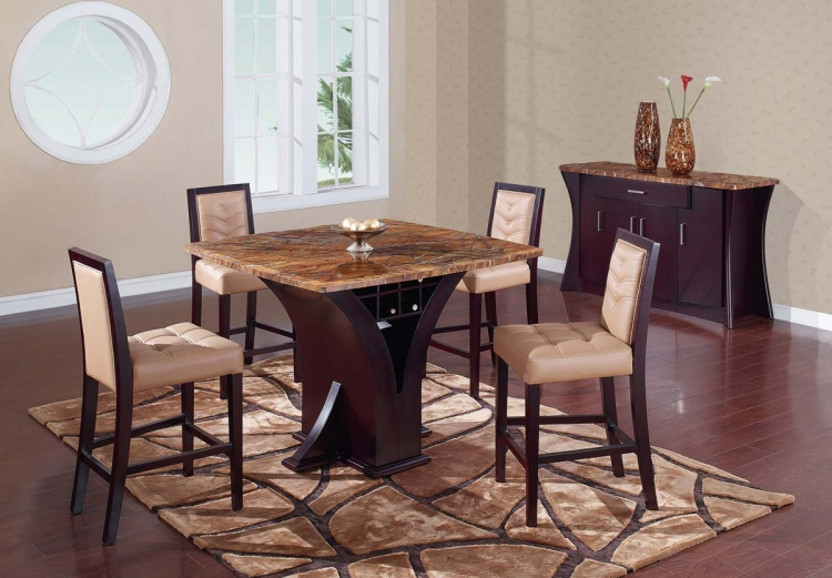 800 Bar Table Set - Wenge - Stone/Tan Marble - Global Furniture