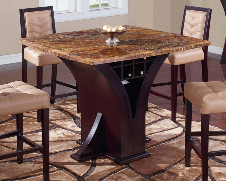 800 Bar Table - Wenge - Stone/Tan Marble - Global Furniture