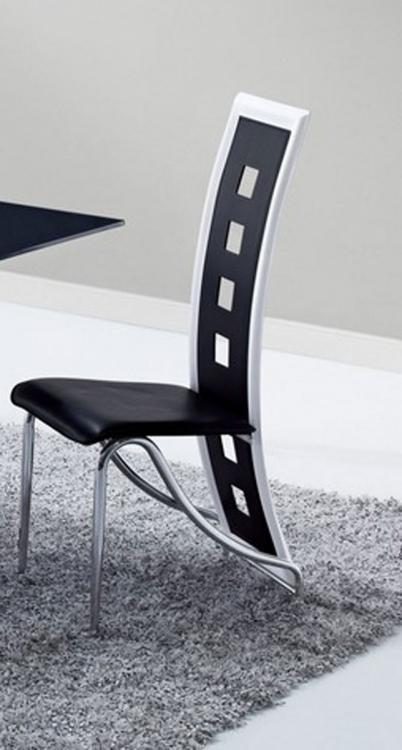 803 Dining Chair - Black/White Trim - Metal Legs