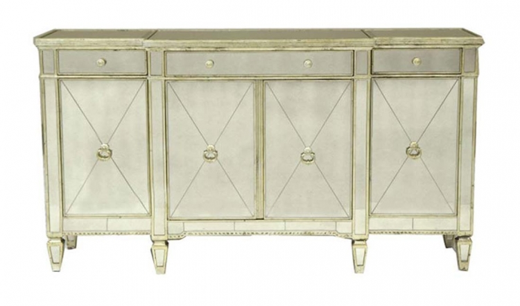 88B Buffet - Clear Welt with Frosted Stripe - Silver Metal Legs - Global Furniture