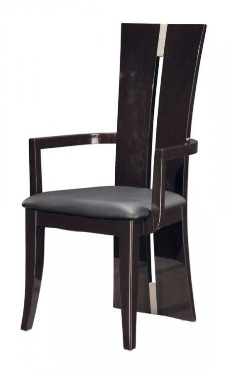 D99 Arm Chair-Dark Brown PVC with Wenge Wood