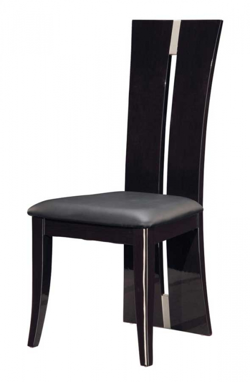 D99 Dining Chair-Dark Brown PVC with Wenge Wood