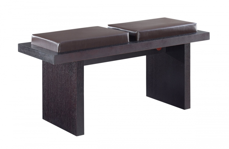 G020BN Bench - Brown Vinyl/Wood Veneer - Wenge Legs