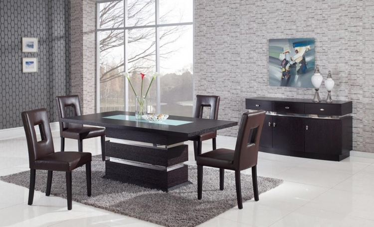 G072DT Dining Set - Dining Table - Wood Veneer - Frosted/Wenge - Global Furniture