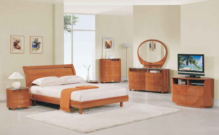 Emily Platform Bedroom Collection - Cherry - Global Furniture