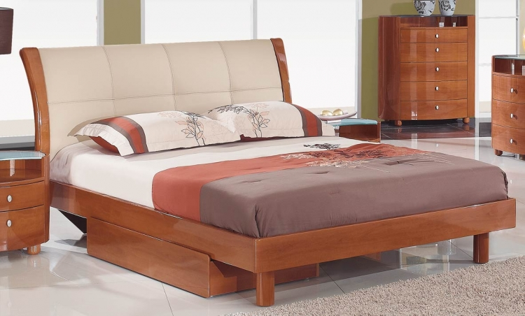 Evelyn Platform Bed - Cherry - Global Furniture