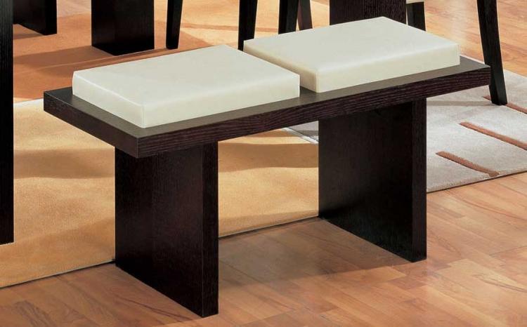 G020 Bench-Beige Leatherette Cushion and Wenge Wood