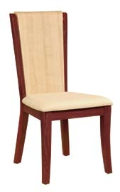 Gabriella Dining Chair - Beige PVC with Oak and Cherry Wood