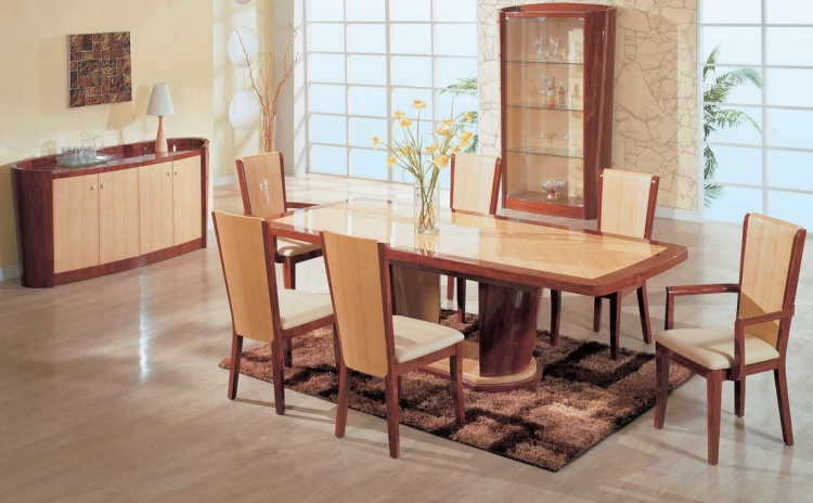 Gabriella Dining Table - Oak and Cherry - Global Furniture