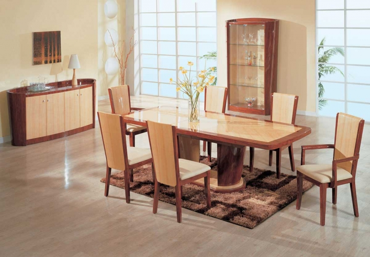 Gabriella Dining Set - Oak and Cherry - Global Furniture