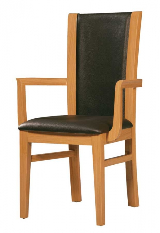 Greta Arm Chair-Black PVC with Oak Wood