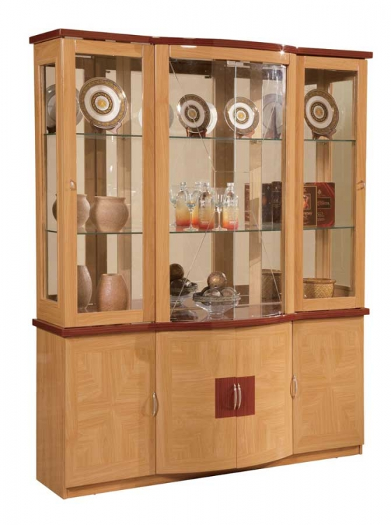 Global Furniture USA Greta Vetrina China Cabinet-Oak and Cherry