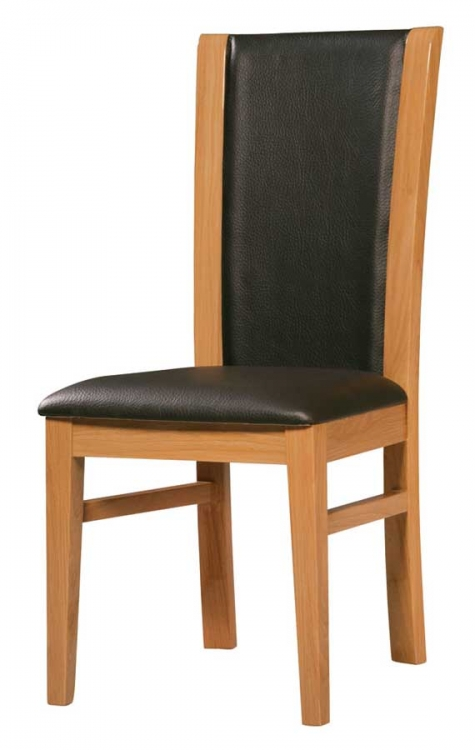 Greta Dining Chair-Black PVC with Oak Wood