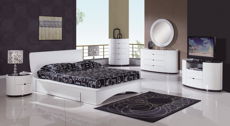 Gia Platform Bedroom Set - White/Wenge - Global Furniture