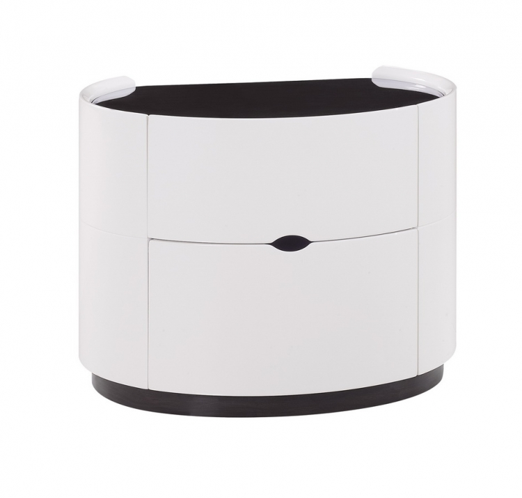 Gia Night Stand - White/Wenge - Global Furniture