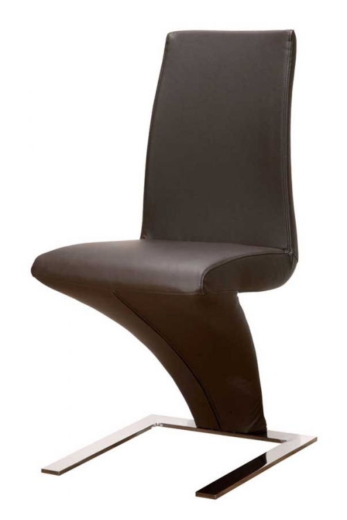 GF-798 Dining Chair - Wenge Leather Match and Chrome Metal
