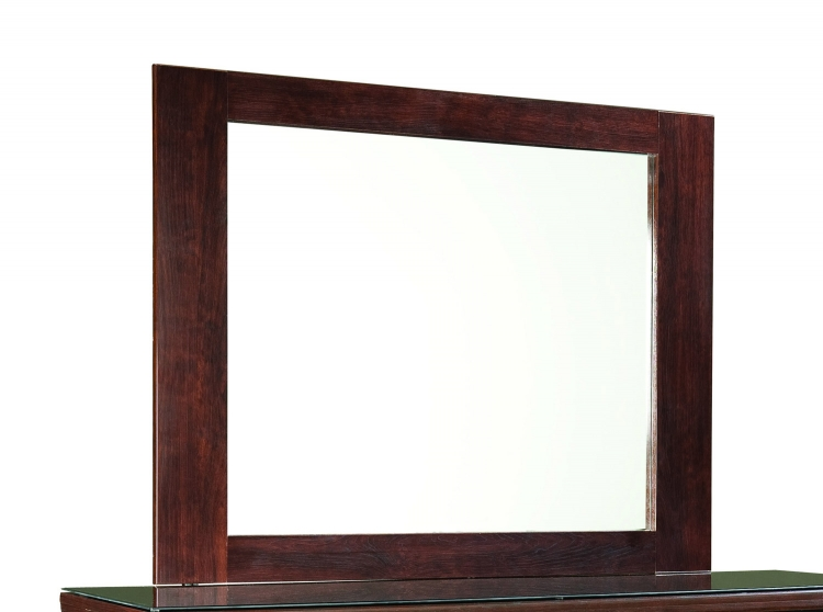 Leah Mirror - Engineered Wood/Paper Veneer - Dark Cherry Merlot