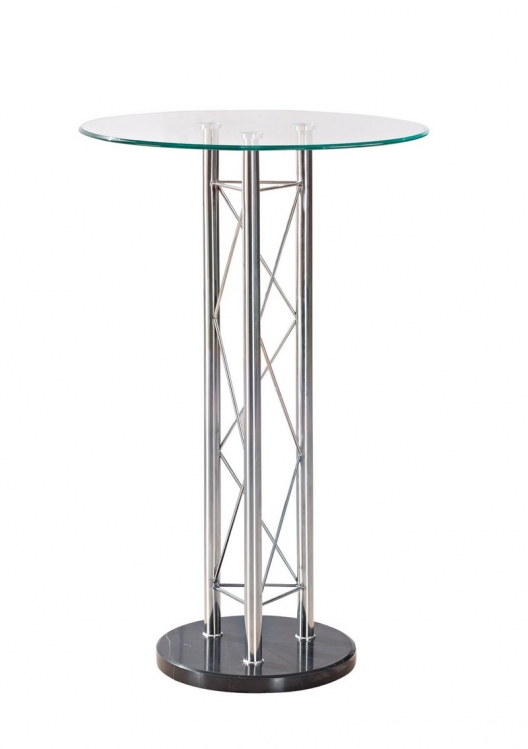 208 - Bar Table - Black - Chrome Legs - Global Furniture