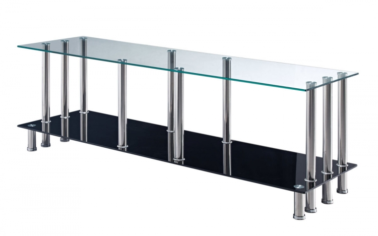 368 TV Stand - Black Glass - Stainless Steel Legs