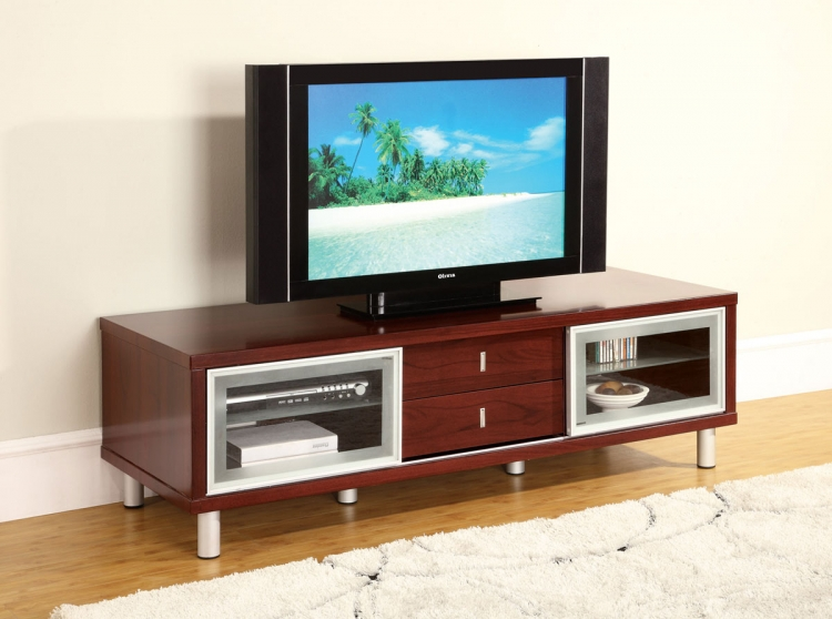 720 TV Cabinet - Vinyl/Silver - Mahogany Wood Legs - Global Furniture
