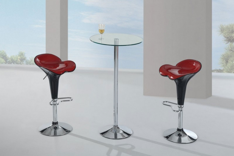 828 - Bar Table Set - Clear Glass - Metal Legs A