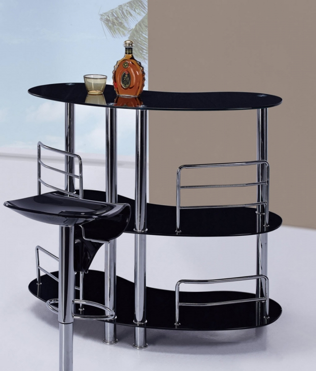BT02 - Bar Table - Black Glass - Metal Legs - Global Furniture