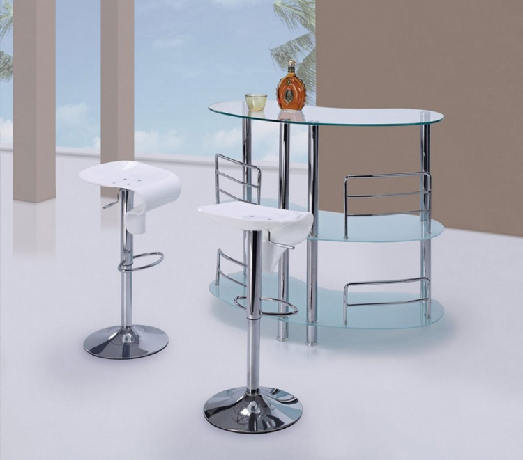 BT02 - Bar Table Set - Frosted Glass - Metal Legs - Global Furniture