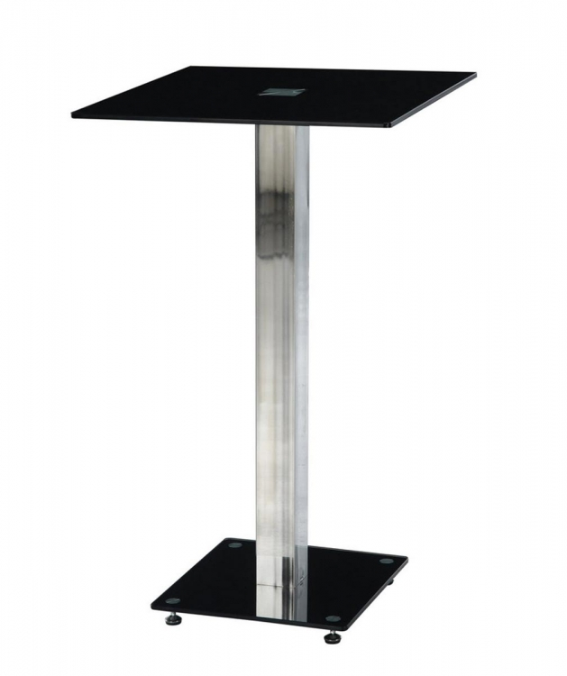 D096 - Bar Table - Black Glass - Metal Legs - Global Furniture