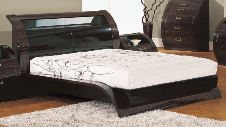Madison Platform Bed - Black/Zebrano - Global Furniture