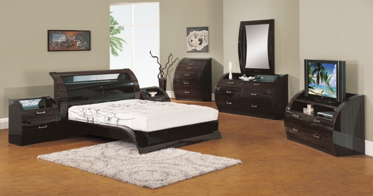 Madison Platform Bedroom Set - Black/Zebrano