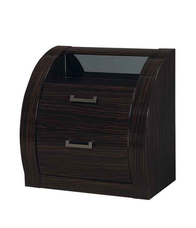 Madison Night Stand - Black/Zebrano
