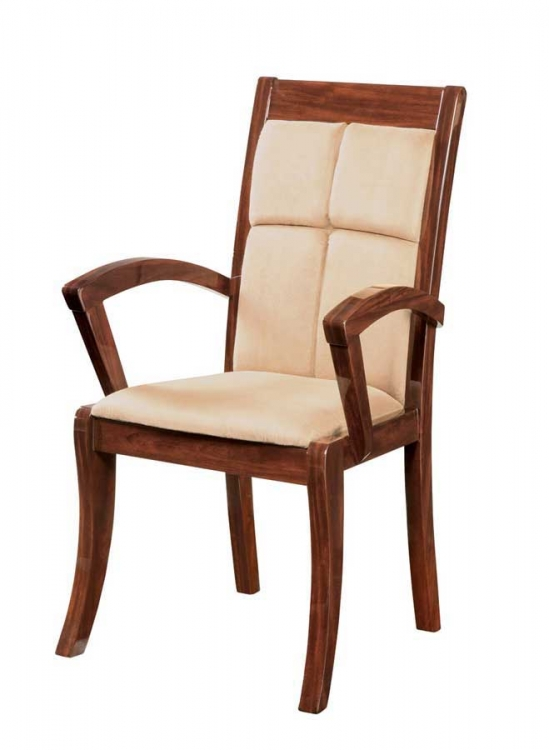 Nadia Arm Chair-Beige Microfiber with Mahogany Wood