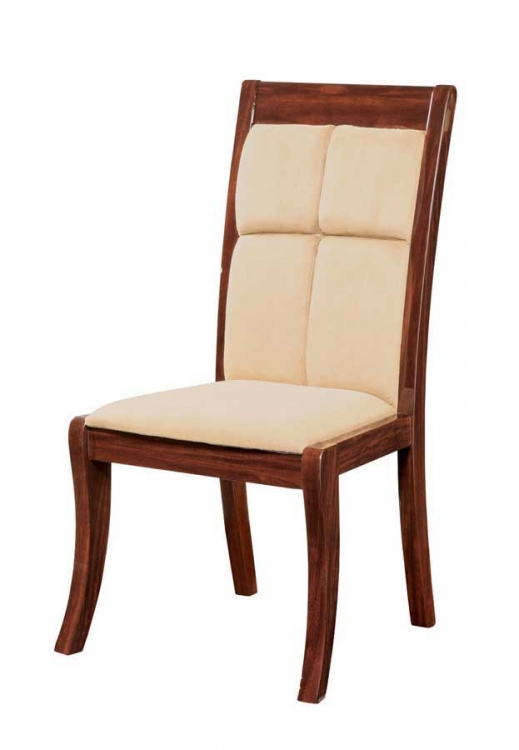 Nadia Dining Chair-Beige Microfiber with Mahogany Wood